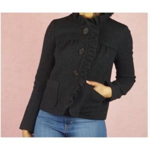 J Crew Black Luxe Donegal Fiona Ruffle Wool Jacket